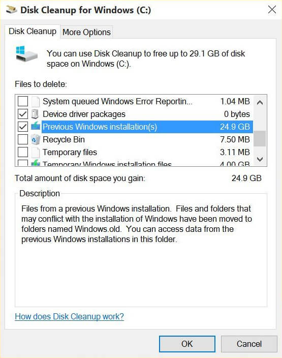 delete a Windows old folder